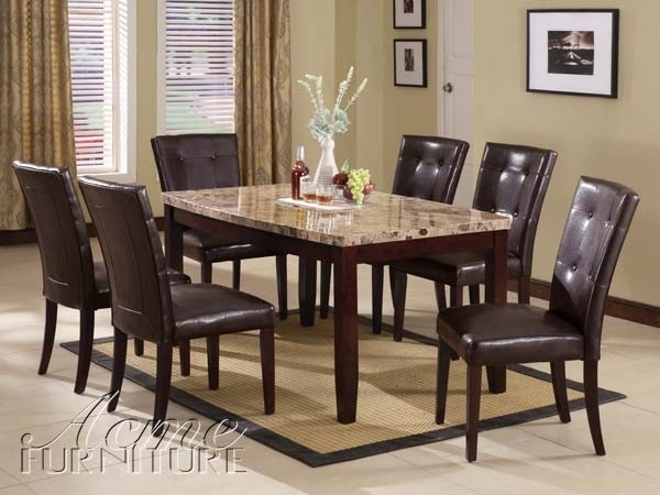 Acme Furniture Granada Brown Marble Top Dining Table Set 07005 Pertaining To Marble Dining Tables Sets (View 9 of 25)