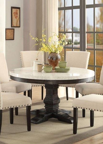 Acme Furniture Nolan Pedestal Dining Table | Dining Room Sets With Pedestal Dining Tables And Chairs (Image 4 of 25)