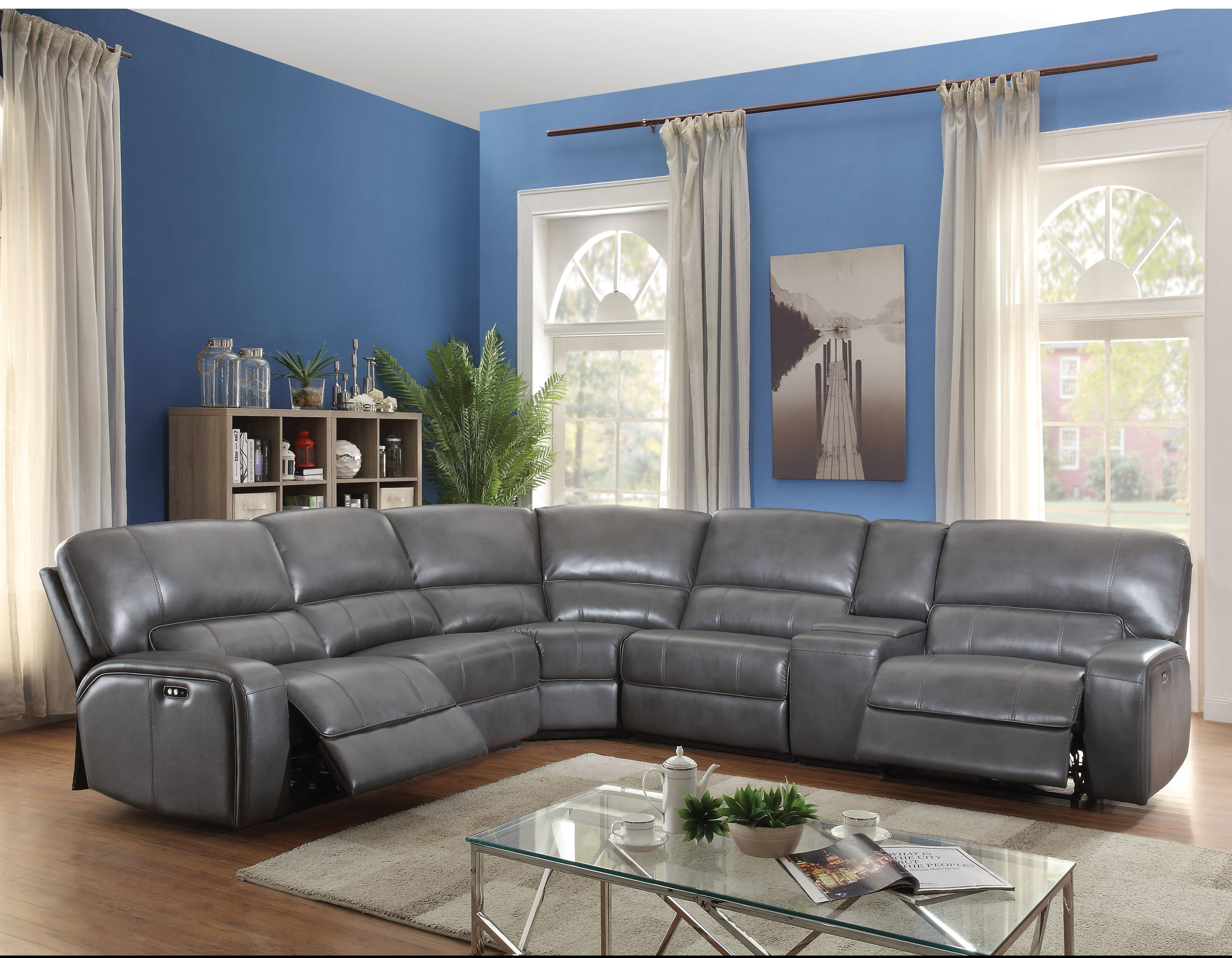 Acme Furniture Saul Gray Power Motion And Usb Dock Sectional Sofa Inside Kristen Silver Grey 6 Piece Power Reclining Sectionals (Image 1 of 25)