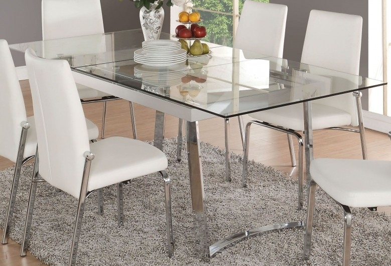 Acme Osias Chrome And Clear Glass Extendable Dining Table – Osias Intended For Glass Folding Dining Tables (Image 1 of 25)