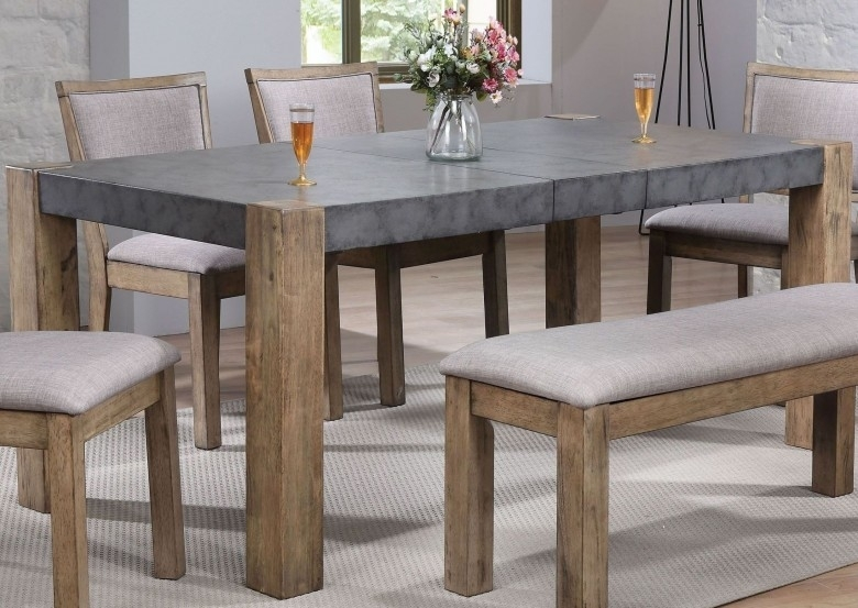 Acme Paulina Ii Dark Gray And Rustic Oak Dining Table – Paulina Ii In Rustic Oak Dining Tables (Image 1 of 25)