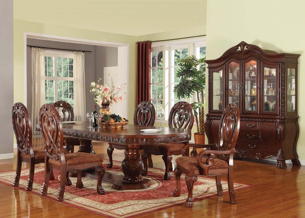 Acme Quinlan 7Pc Oval Shaped Double Pedestal Dining Room Set In Regarding Pedestal Dining Tables And Chairs (Image 5 of 25)