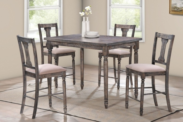 Acme Wallace Weathered Gray And Tan Linen 5 Piece Counter Height Set With Hyland 5 Piece Counter Sets With Bench (Image 2 of 25)