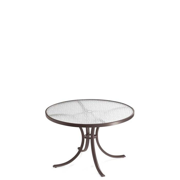 "Acrylic 42"" Round Dining Umbrella Table   Tropitone Inside Acrylic Round Dining Tables (View 24 of 25)"