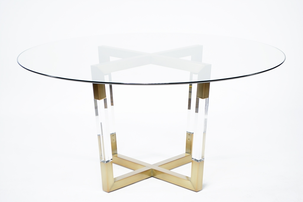 Acrylic And Brass Dining Table – Mecox Gardens Throughout Acrylic Dining Tables (Image 2 of 25)