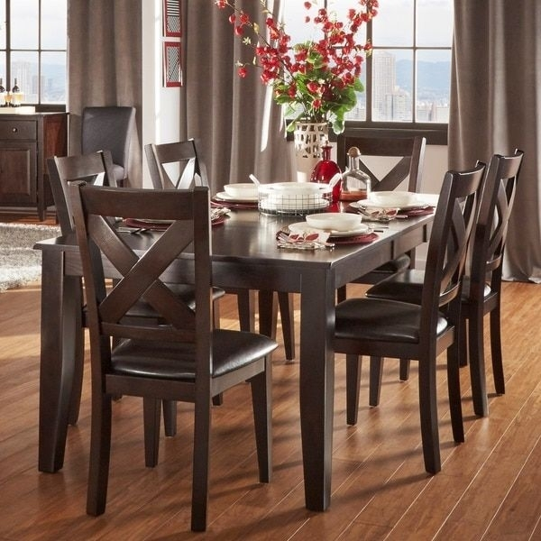 Acton Warm Merlot X Back Casual 7 Piece Extending Dining Set Throughout Combs 5 Piece 48 Inch Extension Dining Sets With Mindy Side Chairs (View 3 of 25)