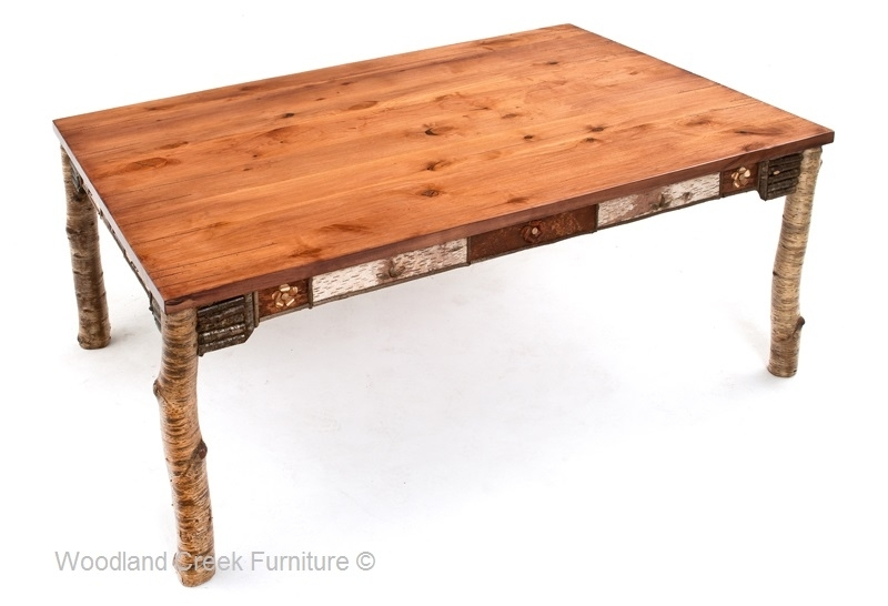 Adirondack Dining Table, Rustic Table, Birch Bark Furniture Inside Birch Dining Tables (Image 1 of 25)