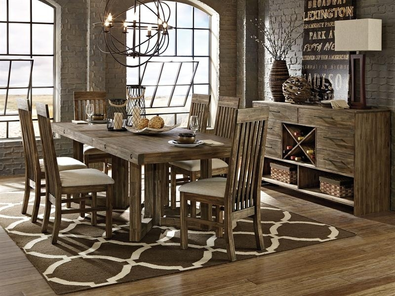 Adler 7Pc Rectangular Solid Acacia Dining Room Set Table & 6 Chairs Inside Acacia Dining Tables (View 19 of 25)
