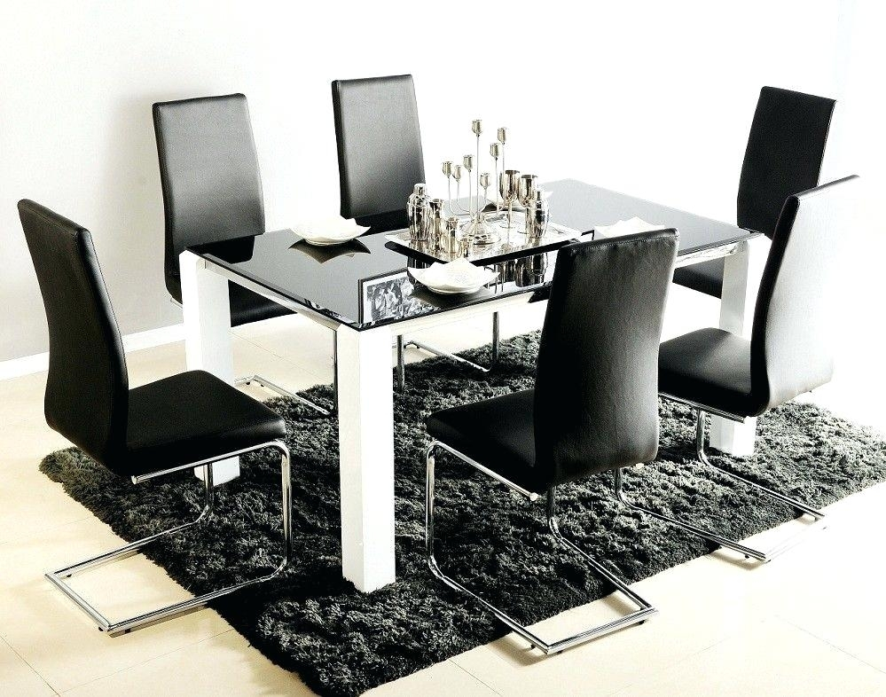 Adorable Dining Table Black Glass In Top For 6 With White Legs – Upshare Regarding Dining Tables Black Glass (Image 3 of 25)