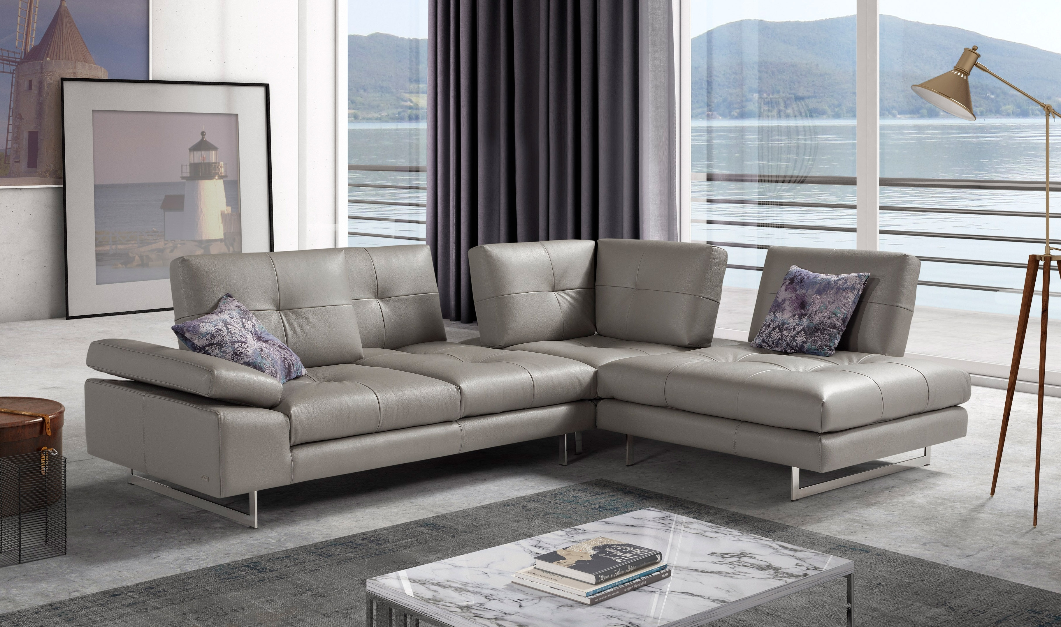 Advanced Adjustable Tufted Leather Sectional With Chaise Aurora Within Aurora 2 Piece Sectionals (Image 2 of 25)