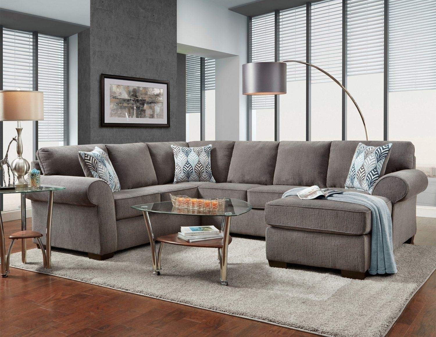 Affordable Furniture Charisma Smoke Sectional Sofa | For The Home Inside Sierra Down 3 Piece Sectionals With Laf Chaise (View 14 of 25)