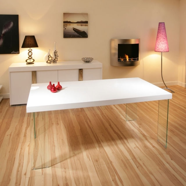 Ag Design Large Rectangular High Gloss White Dining Table Glass Leg Within High Gloss White Dining Tables And Chairs (Image 1 of 25)