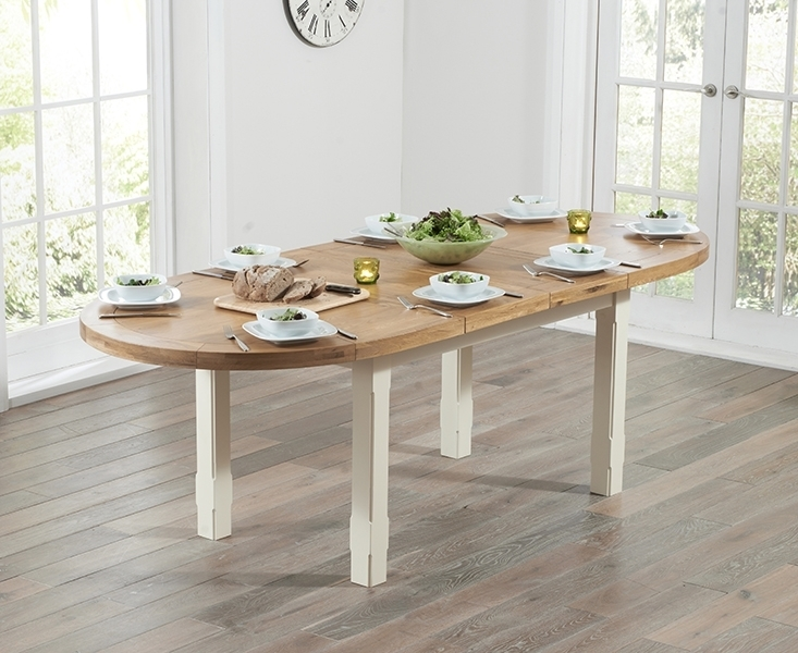 Agata Oak And Cream 167Cm 247Cm Oval Extending Dining Table In Oval Extending Dining Tables And Chairs (Image 1 of 25)