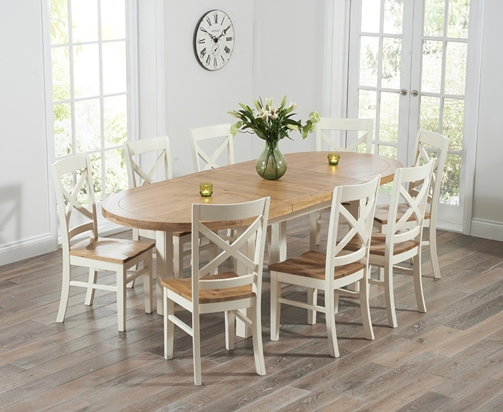 Agata Oak And Cream Oval Extending Dining Set With 4 Valentino Chairs Intended For Oval Extending Dining Tables And Chairs (Image 2 of 25)