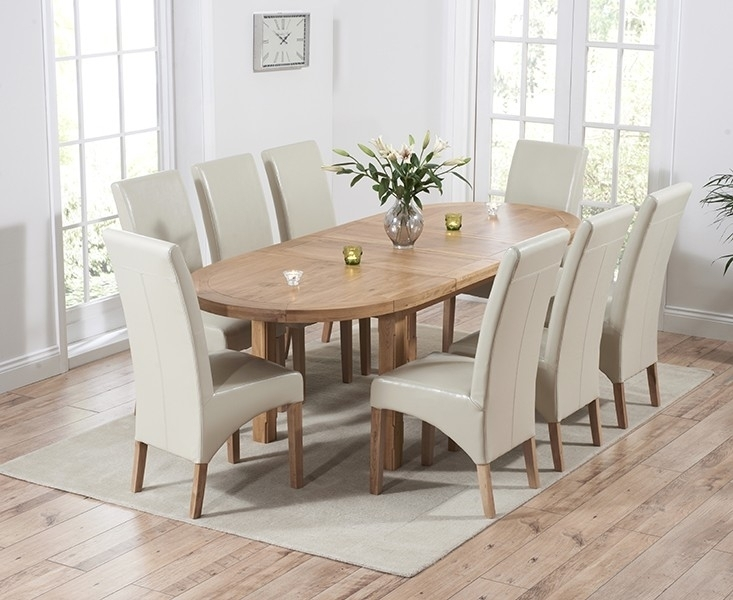 Agata Solid Oak Oval Extending Dining Set With 4 Theo Cream Bycast Intended For Oak Extending Dining Tables And 4 Chairs (Image 1 of 25)