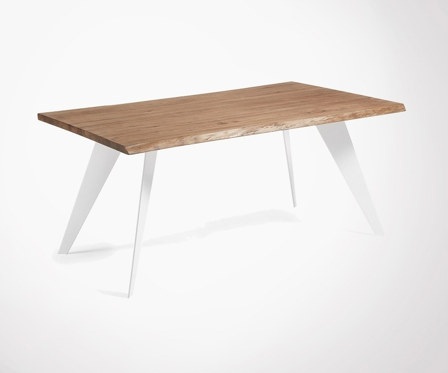 Aged Oak Top Dining Table 180Cm With Metal Feet Regarding 180Cm Dining Tables (View 10 of 25)
