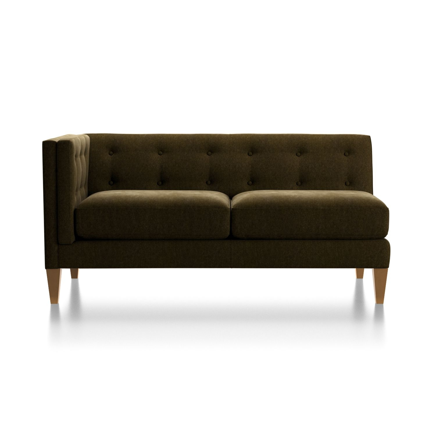 Aidan Velvet Left Arm Tufted Loveseat + Reviews | Crate And Barrel For Aidan 4 Piece Sectionals (Image 6 of 25)