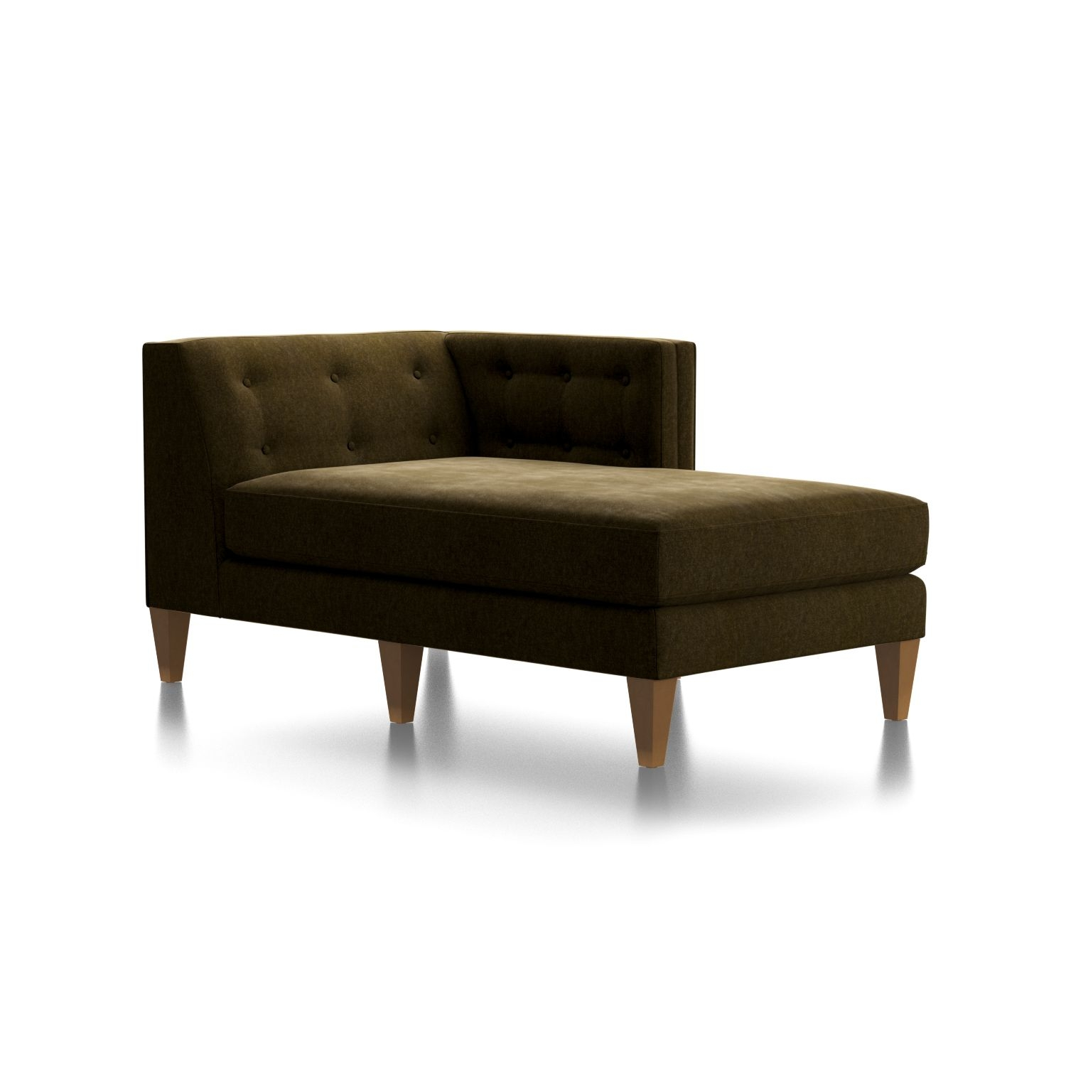 Aidan Velvet Right Arm Tufted Chaise + Reviews | Crate And Barrel With Regard To Aidan 4 Piece Sectionals (Image 7 of 25)