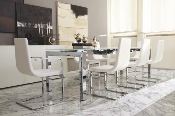 Airport, Modern Extending Dining Table With A White Glass Top And With Chrome Dining Room Sets (View 13 of 25)