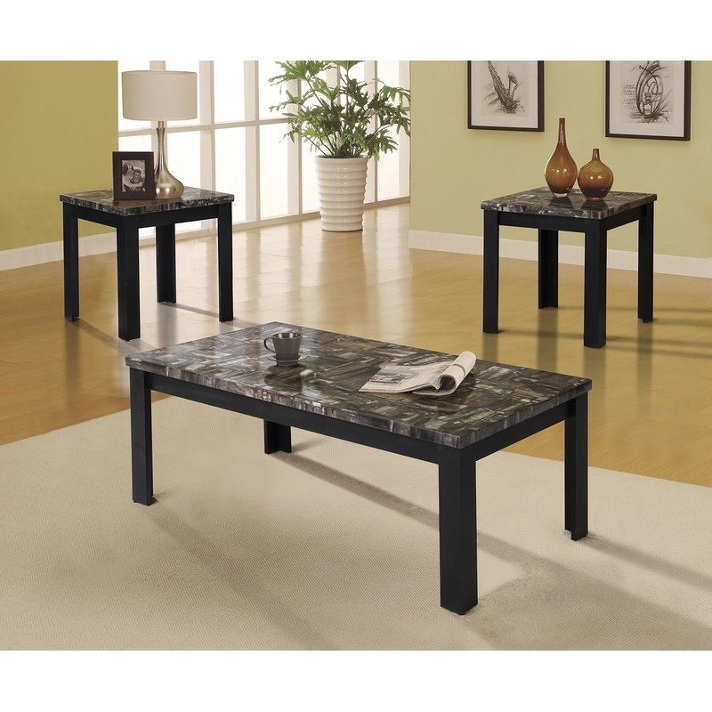 A&j Homes Studio Carly 3 Piece Coffee Table Set | Wayfair Pertaining To Carly Rectangle Dining Tables (Image 1 of 25)