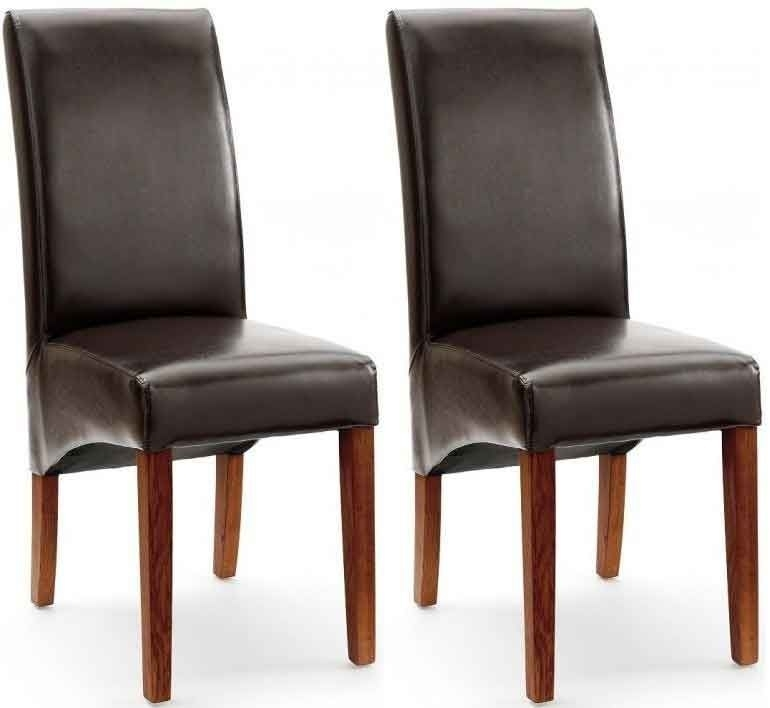 Akron Brown Faux Leather Dining Chair With Dark Leg (Pair) Inside Dark Brown Leather Dining Chairs (Image 1 of 25)
