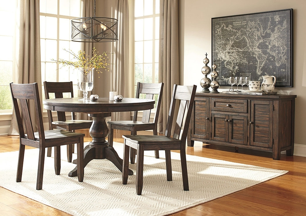 Alabama Furniture Market Trudell Golden Brown Round Dining Room In Market 6 Piece Dining Sets With Side Chairs (View 18 of 25)
