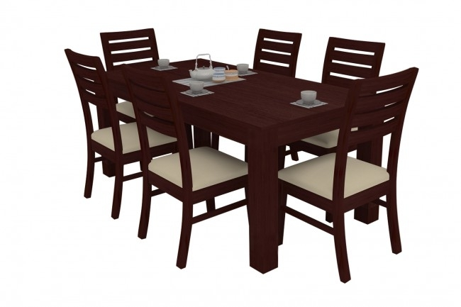 Alana Mahogany Dining Table Set 6 Seater (Teak Wood) – Adona Adona Woods Intended For Wood Dining Tables And 6 Chairs (Image 1 of 25)