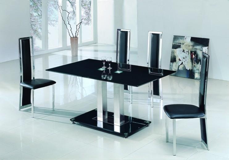 Alba Large Chrome Black Glass Dining Table With Amalia Chairs Inside Glass Dining Tables 6 Chairs (Image 6 of 25)