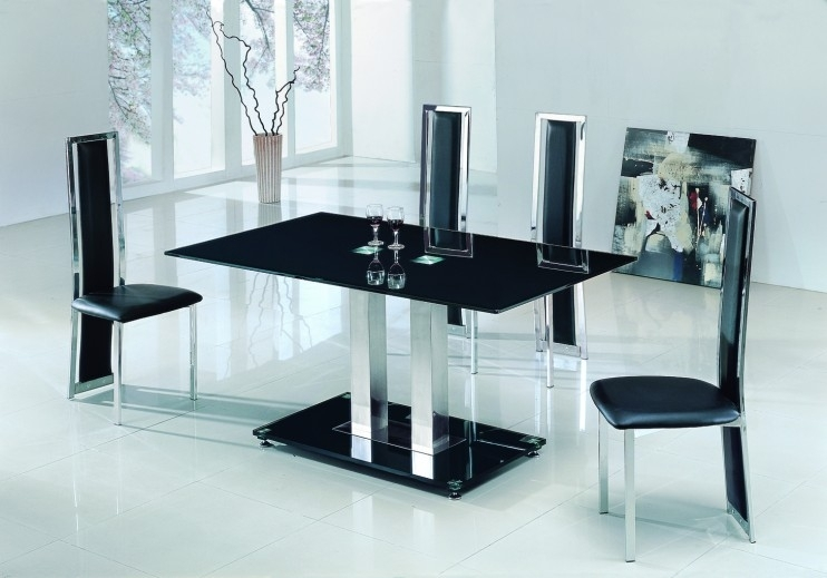 Alba Large Chrome Black Glass Dining Table With Amalia Chairs With Black Glass Dining Tables (Image 2 of 25)