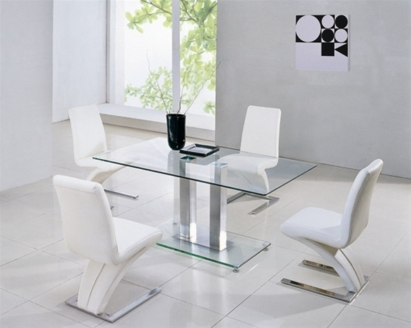 Alba Large Chrome Clear Glass Dining Table | Glass Vault Furniture With Clear Glass Dining Tables And Chairs (Image 1 of 25)