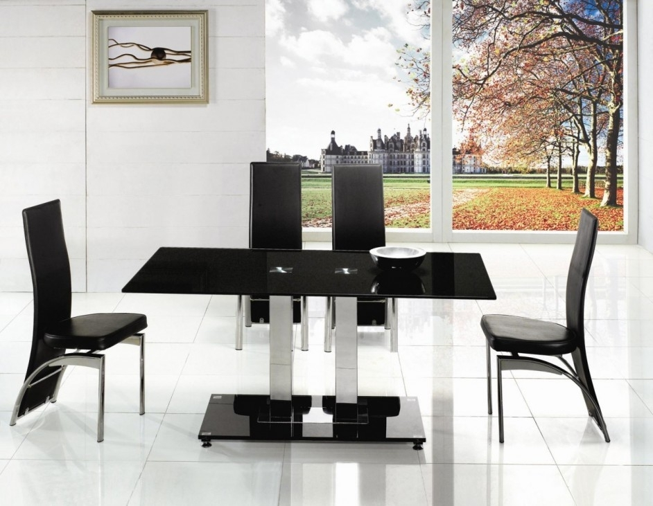 Alba Small Chrome Black Glass Dining Table | Modenza Furniture With Regard To Black Glass Dining Tables And 4 Chairs (Image 4 of 25)