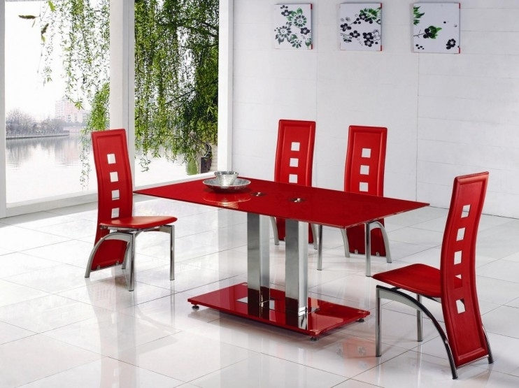 Alba Small Red Glass Dining Table With Alison Dining Chair in Red Gloss Dining Tables