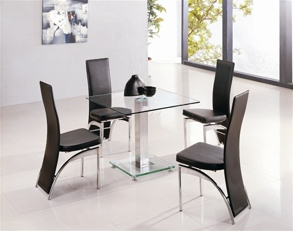 Alba Square Clear Glass Dining Table | Glass Vault Furniture Within Clear Glass Dining Tables And Chairs (Image 2 of 25)