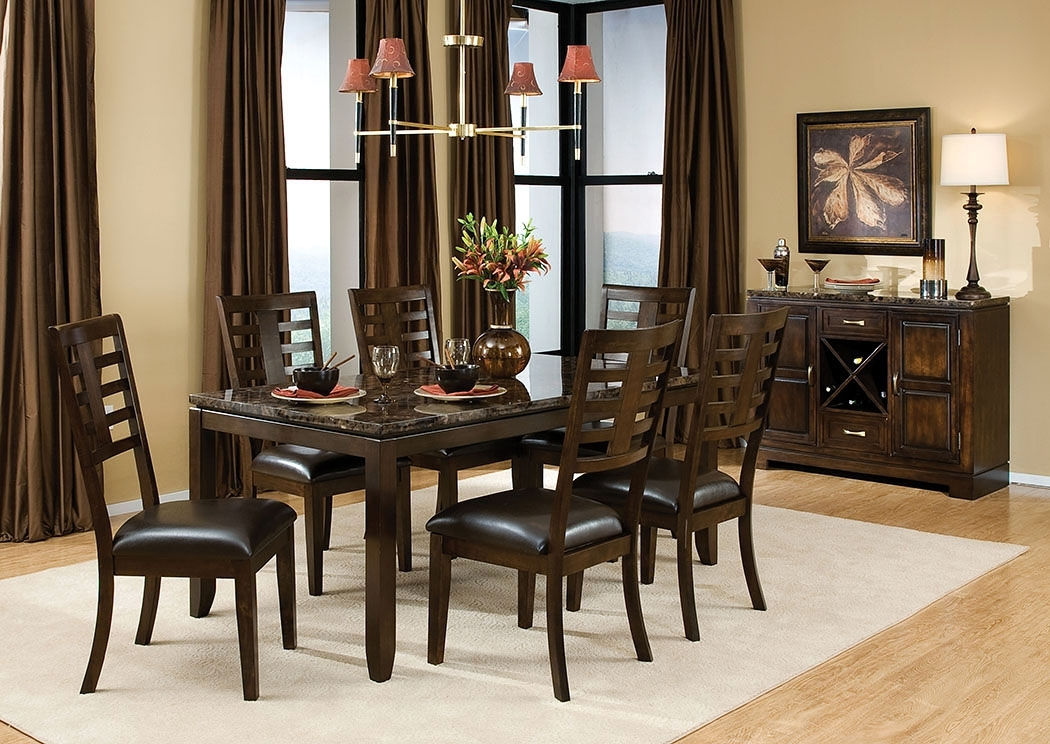 Albert's Home Furnishings Bella Marbella Top Dining Table W/6 Side Throughout Marbella Dining Tables (Image 5 of 25)