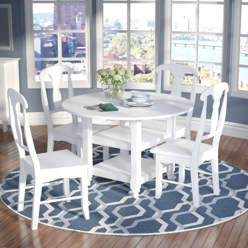 Alcott Hill Harwick 5 Piece Dining Set & Reviews | Wayfair With Regard To Jaxon 5 Piece Extension Counter Sets With Wood Stools (Image 3 of 25)