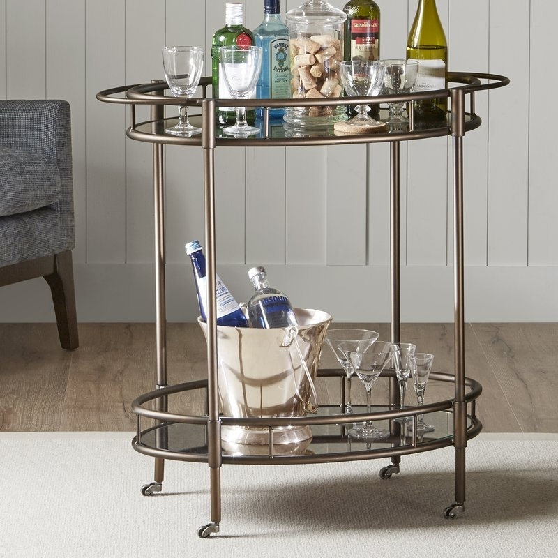 Alcott Hill Kuiper Bar Cart | Wayfair Intended For Palazzo 7 Piece Rectangle Dining Sets With Joss Side Chairs (Image 11 of 25)