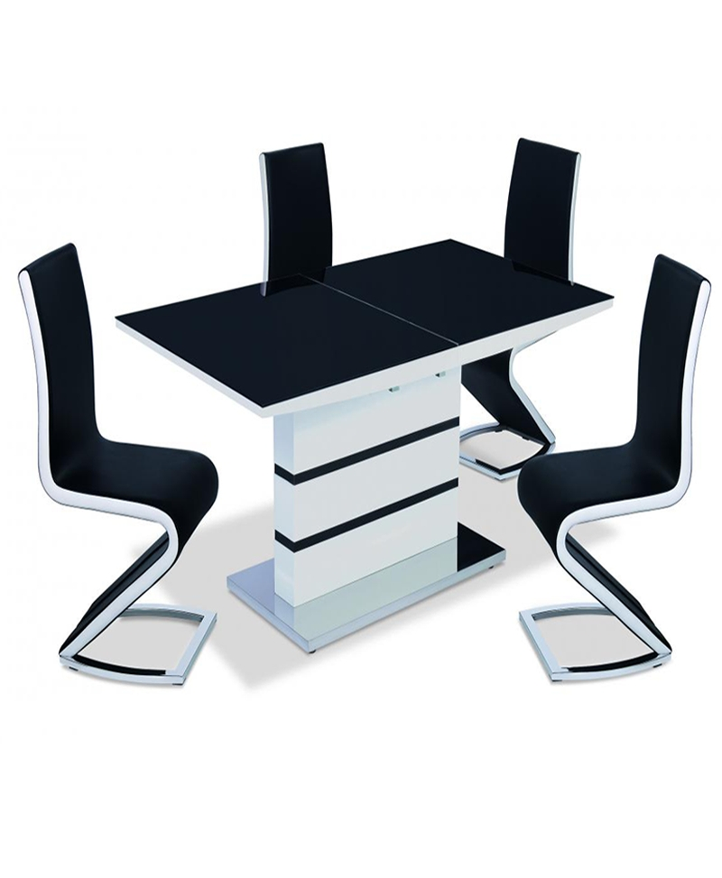 Aldridge High Gloss Dining Table White With Black Glass Top 4 Chairs Within Black Gloss Dining Sets (Image 1 of 25)
