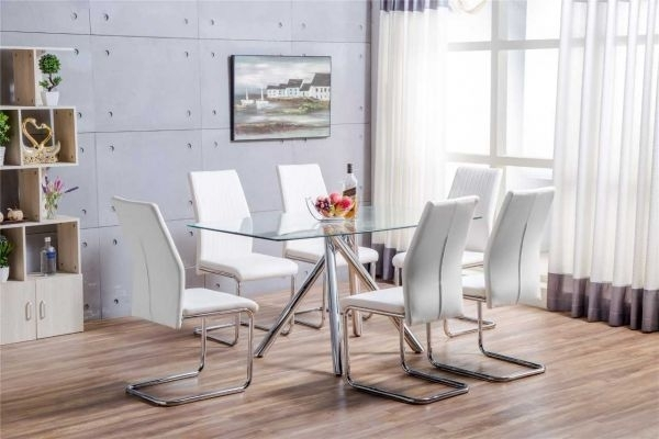 Alexa Glass Dining Table & 6 White Chairs Set | Furniturebox For Glass Dining Tables White Chairs (Image 2 of 25)
