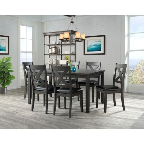 Alexa Transitional 7 Piece Dining Set – Grey : Dining Sets – Best Throughout Valencia 5 Piece Round Dining Sets With Uph Seat Side Chairs (View 11 of 25)