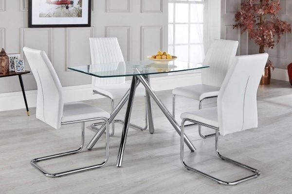 Alexa White Dining Table Set With 4 Chairs – Free Delivery Regarding Dining Room Glass Tables Sets (Image 5 of 25)