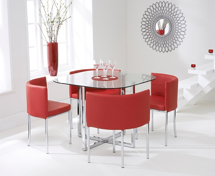 Algarve Glass Stowaway Dining Table With Red High Back Stools Within Red Dining Table Sets (Image 2 of 25)