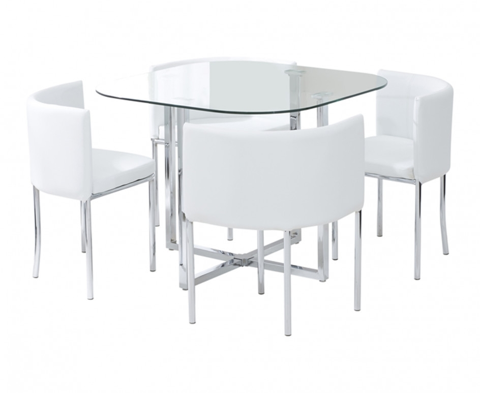 Algarve Glass Stowaway Dining Table With White High Back Oval Dining Within Stowaway Dining Tables And Chairs (View 17 of 25)
