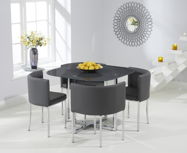 Algarve Grey Glass Stowaway Dining Table With Grey High Back Stools Within Stowaway Dining Tables And Chairs (Photo 18 of 25)