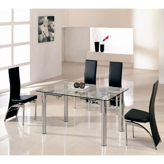 Alicia Extending Dining Table In Clear Glass With Chrome In Extended Dining Tables And Chairs (View 4 of 25)