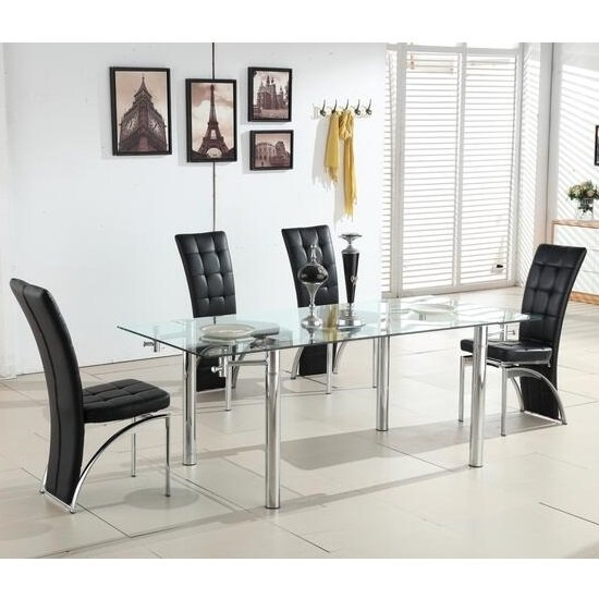 Alicia Extending Glass Dining Table With 6 Ravenna Black Throughout Extendable Dining Tables With 6 Chairs (View 8 of 25)