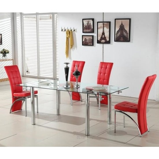 Alicia Extending Glass Dining Table With 6 Ravenna Red intended for 6 Seater Glass Dining Table Sets