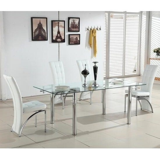Alicia Extending Glass Dining Table With 6 Ravenna White In Clear Glass Dining Tables And Chairs (Image 4 of 25)
