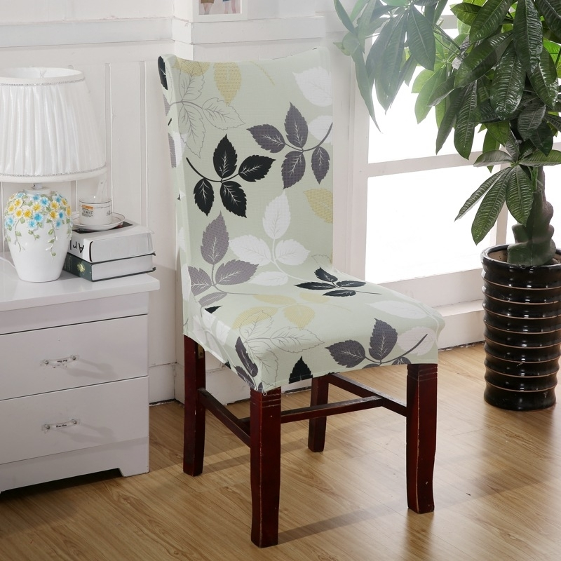 Aliexpress : Buy Brown Curve Chair Covers Cheap Jacquard Stretch With Regard To Fabric Covered Dining Chairs (View 22 of 25)