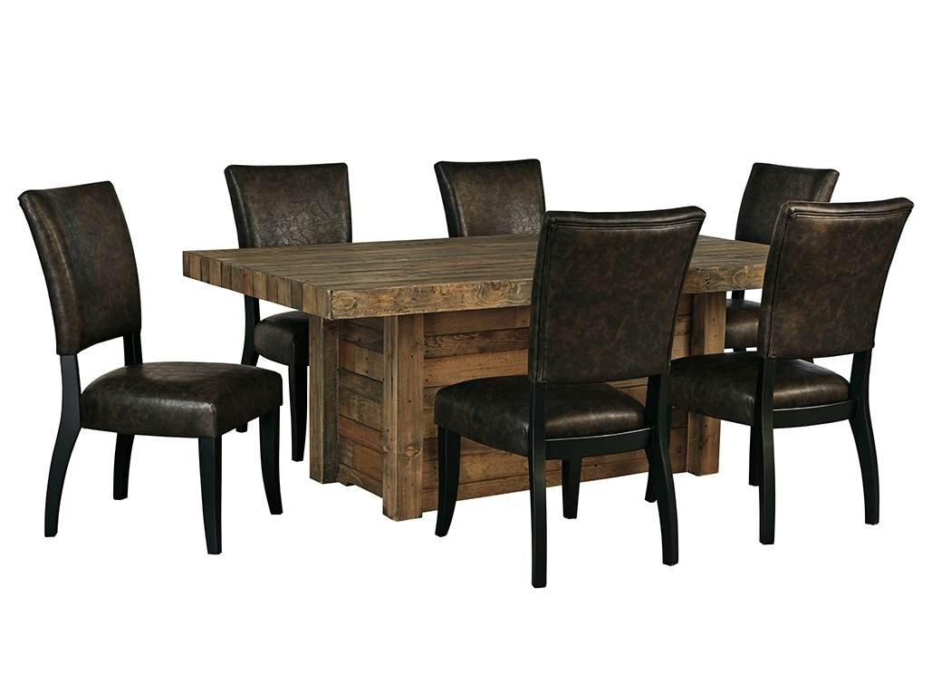 All Star Furniture Sommerford Brown Rectangular Dining Room Table W For Craftsman 9 Piece Extension Dining Sets With Uph Side Chairs (View 15 of 25)