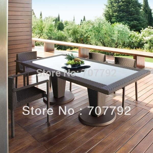 All Weather Outdoor Pe Rattan Dining Table And Chairs In Garden Intended For Garden Dining Tables (View 21 of 25)